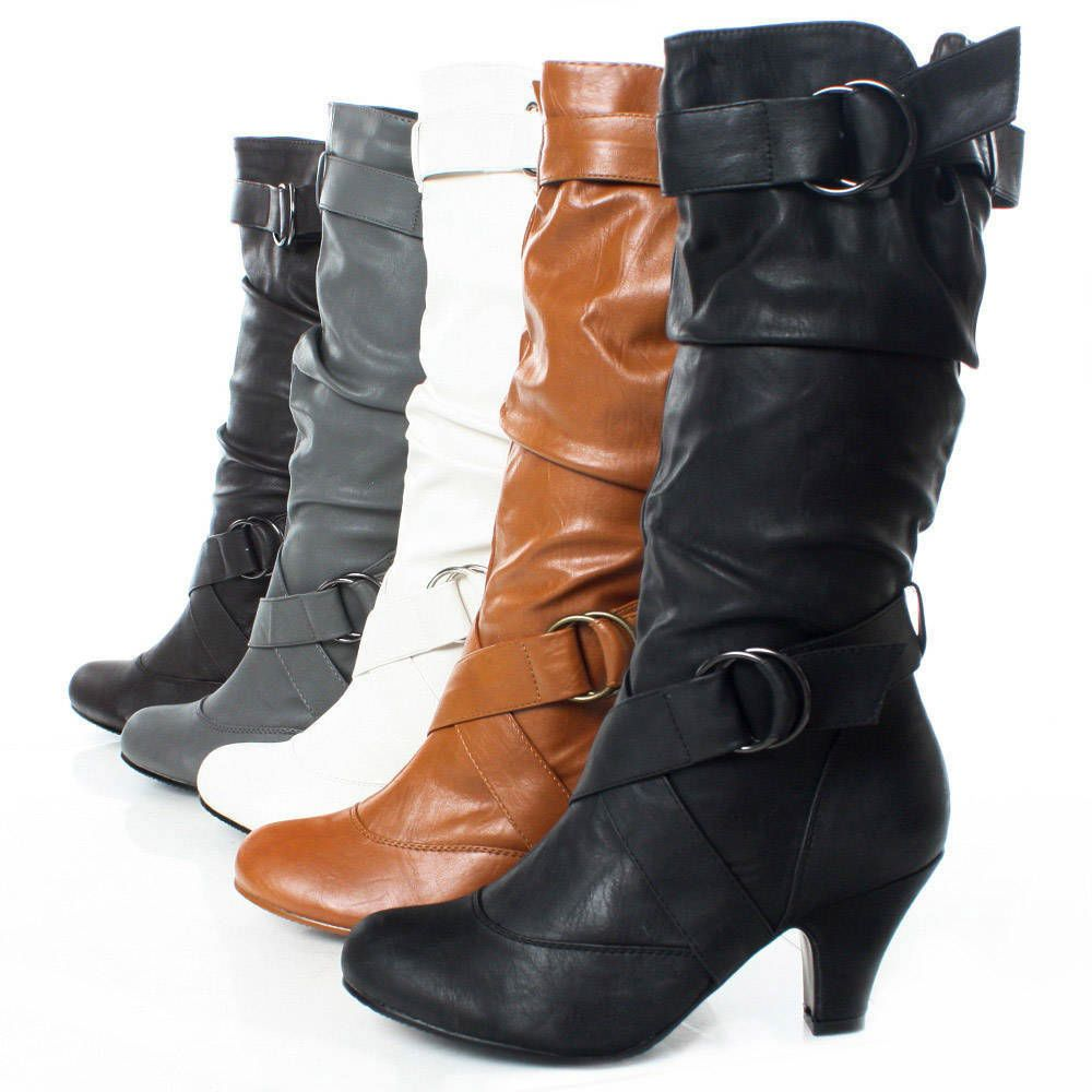 Women's Vintage Slouchy Low Chunky Heels Pull On Mid Calf Boots Riding Booties