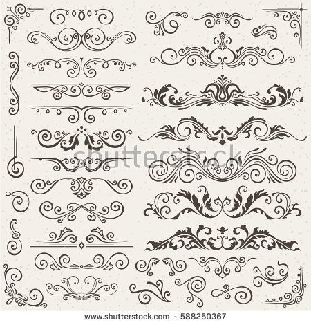 Free Download 65 Floral Decorative Ornaments Vector Pack Free Calligraphic Elements Clip Art Vintage Ornate Fra Flourish Border Free Clip Art Boarder Designs