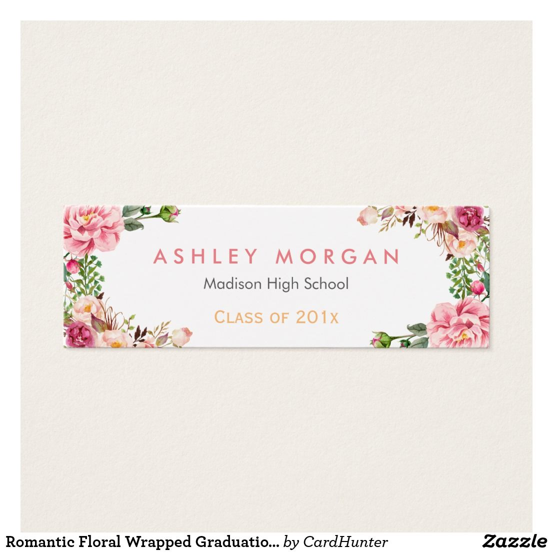 Romantic Floral Wrapped Graduation Insert Card Florales