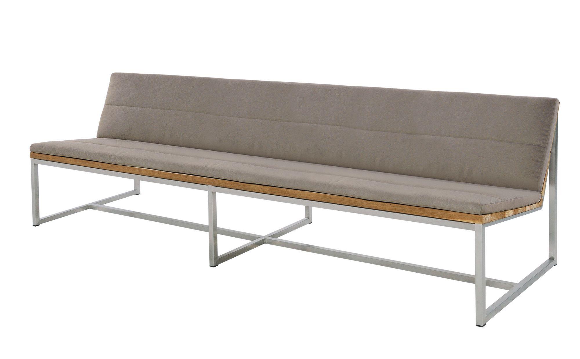 Brilliant Mamagreen Oko Teak Stainless Steel Bench With Cushions Inzonedesignstudio Interior Chair Design Inzonedesignstudiocom
