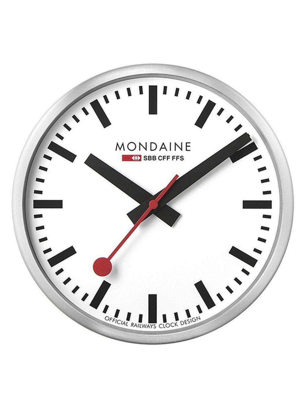 Mondaine Msm 25s10 Stop2go Wanduhr Silber O 25 Cm Swiss Railway Wall Clock Mondaine Wall Clock Wall Clock