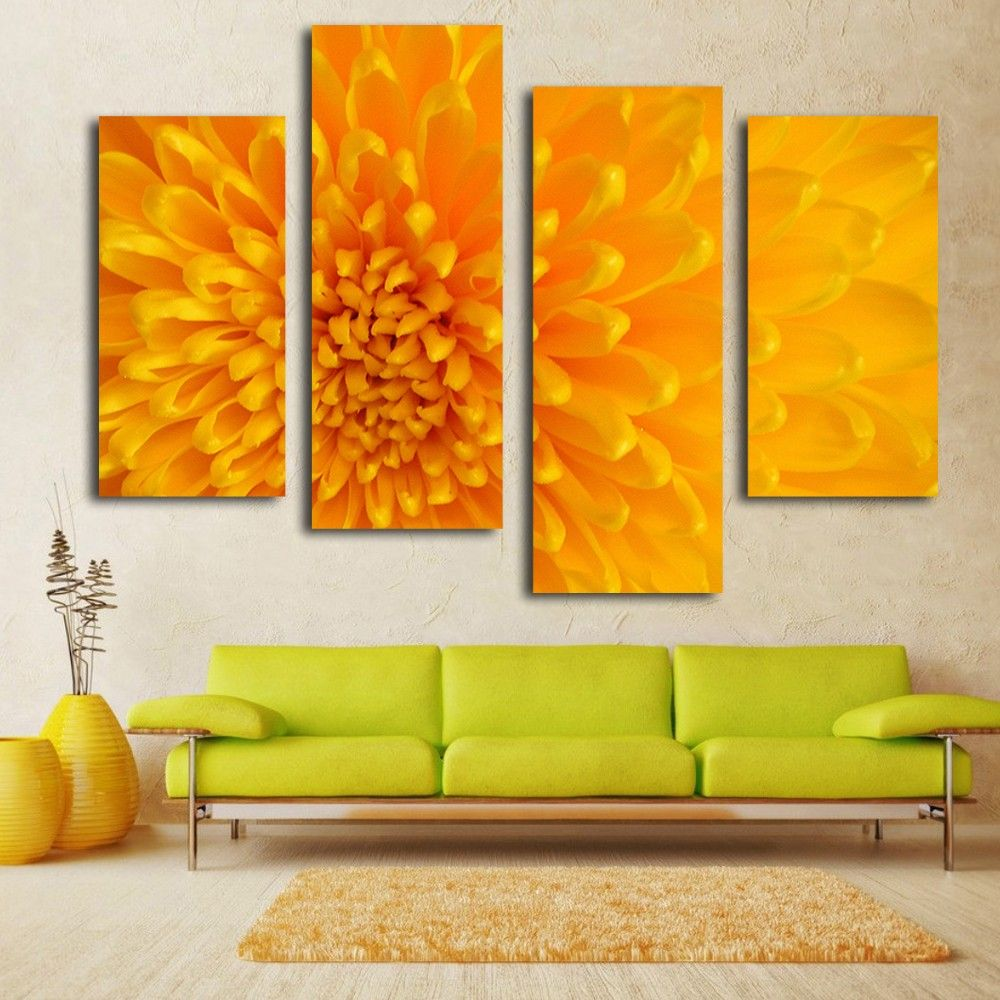 Large blossom yellow flower photo printing canvas painting wall art ...