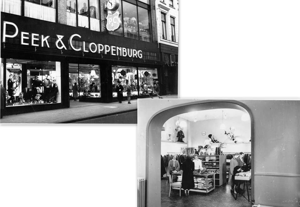 Herestraat nummer 57 met het kledingmagazijn Peek en Cloppenburg. Daar is nu de Bijenkorf 1955. - Foto's SERC