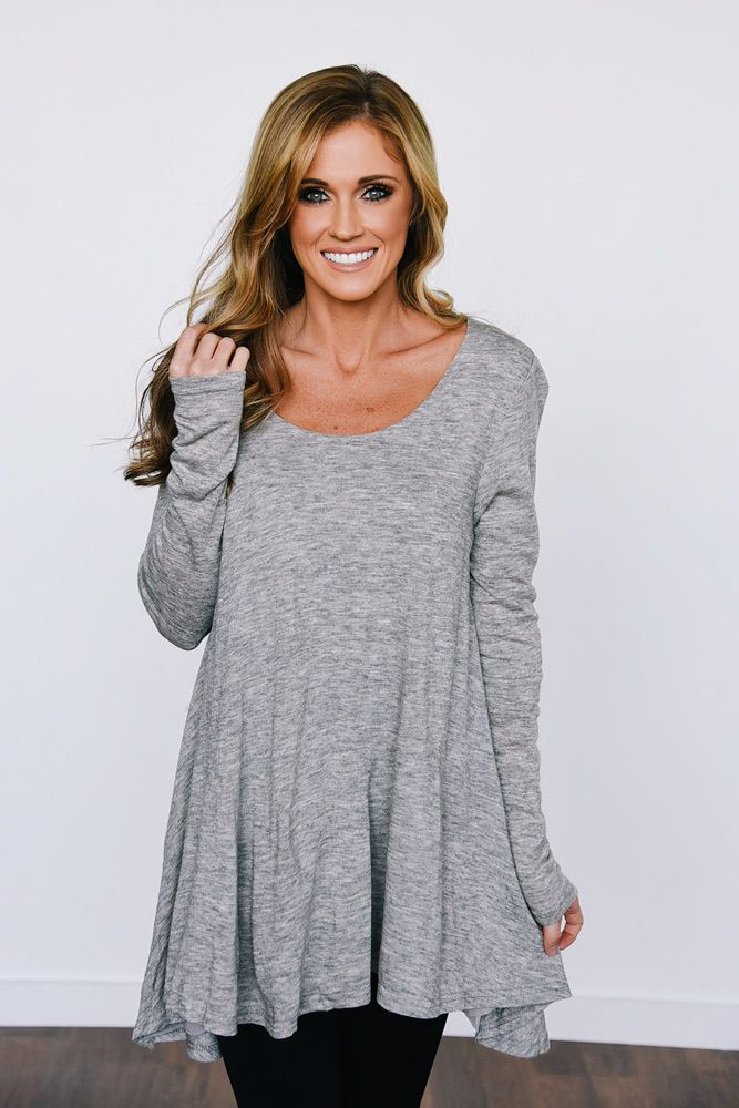 9346b898344 Long Sleeve Layered Flare Tunic - Heather Grey | New Arrivals ...