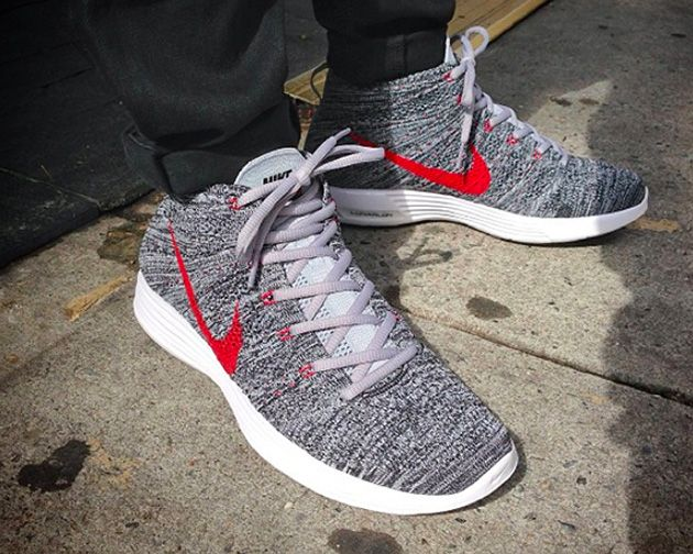 separation shoes 37431 e4c66 Nike Flyknit Chukka Grey Red