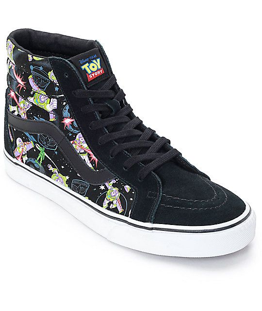 ec91a490a5 Go to infinity and beyond in the Disney x Vans collaboration Sk8 Hi Buzz  Lightyear shoes. The black canvas side panels feature a screen printed Buzz  ...