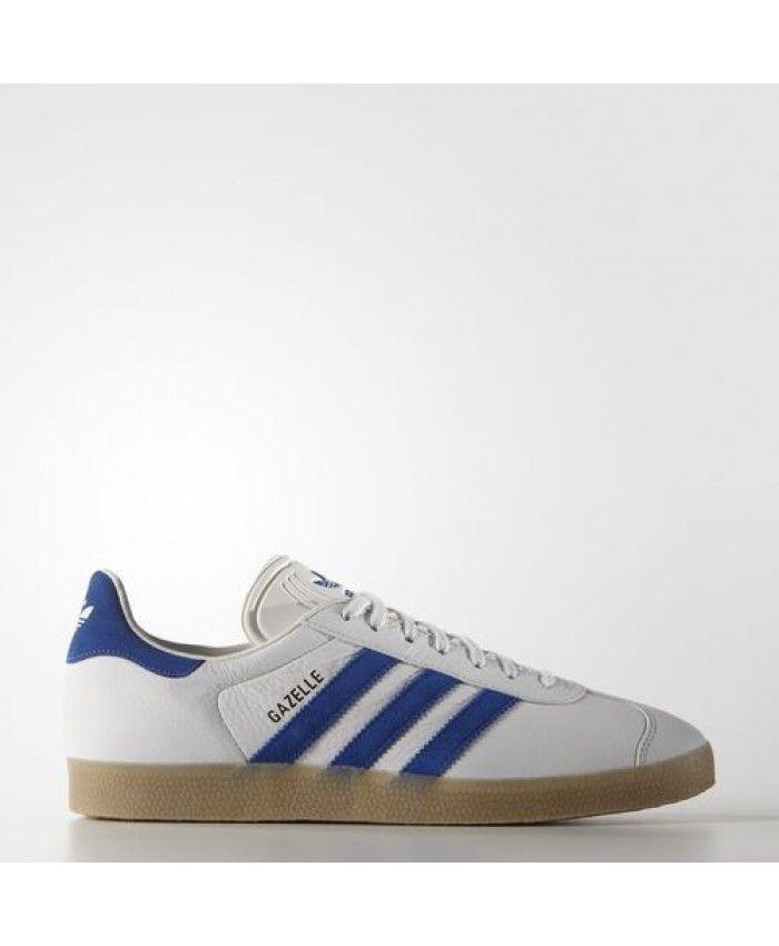 Adidas Gazelle Mens Shoes Vintage White Bold Blue Gum S76225