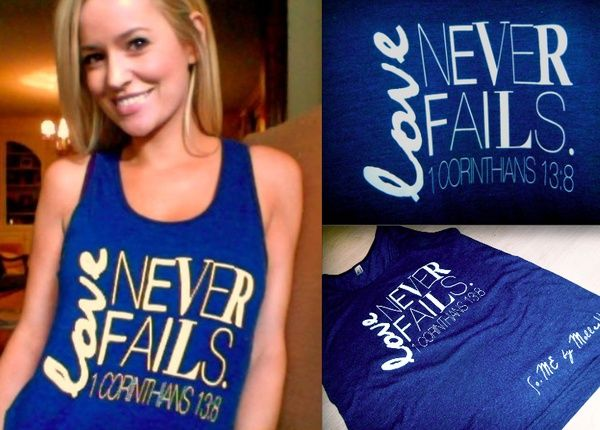 Instead of your typical bridesmaid and bride tanks, go for an original love quote tank like this one for morning of. so cute! Maybe on the back put bridal party titles, date, etc.
