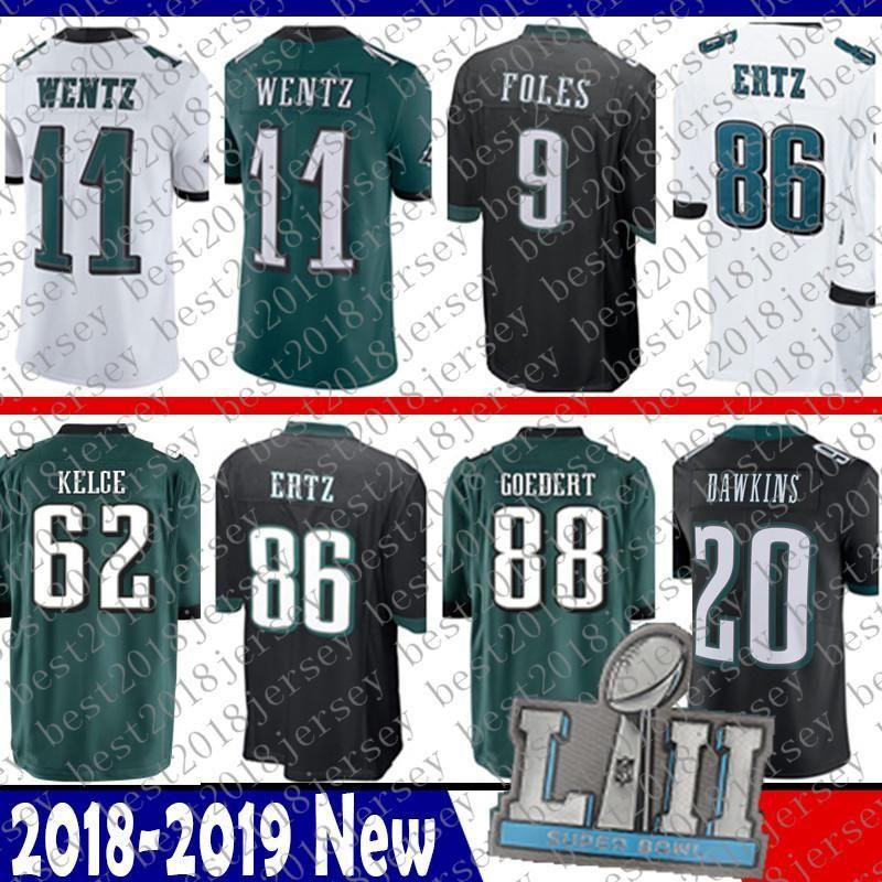 newest 83759 10262 White 11 Wentz Jersey Philadelphia 62 Kelce Eagles 88 ...