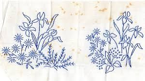 Image result for vintage iris embroidery pattern