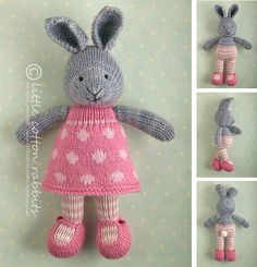 Photo of Toy knitting pattern for a bunny rabbit in a dotty dress