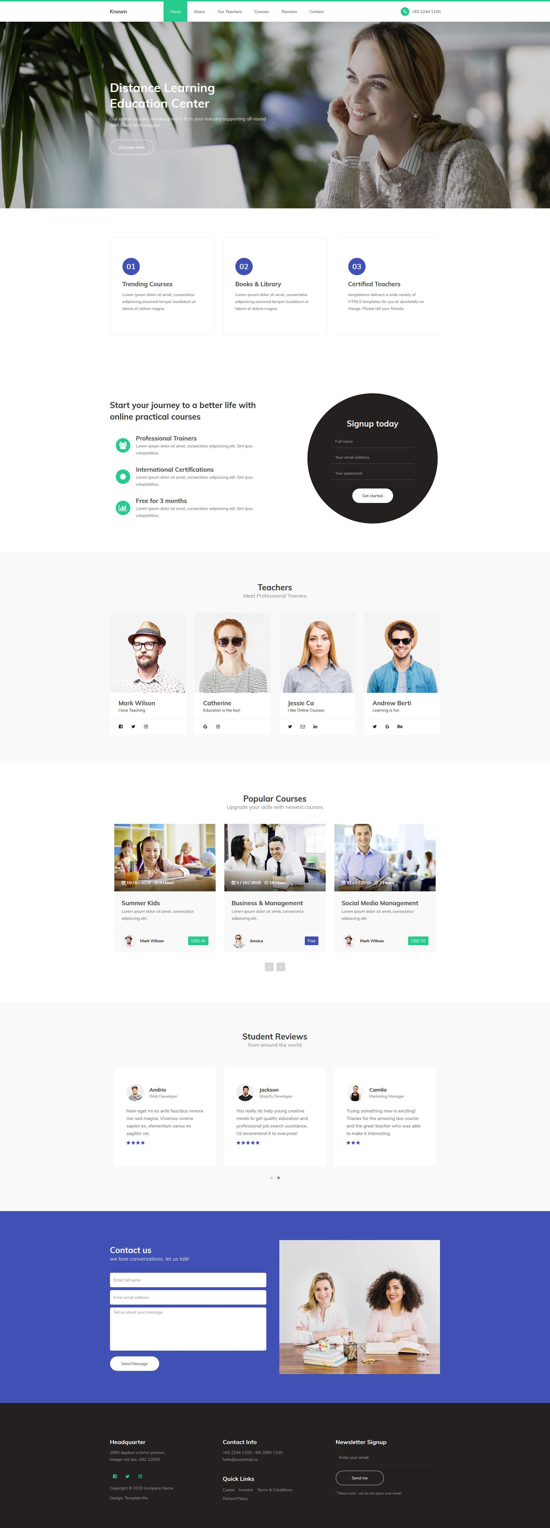 Known Education Css Template Includes A Home Page Slider Carousel Contents And Contact Section Css Templates Html And Css Templates Templates