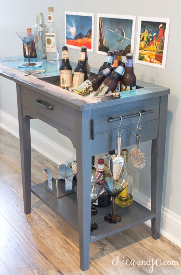 Turn a vintage sewing table into a bar cart it all started with turn a vintage sewing table into a bar cart watchthetrailerfo