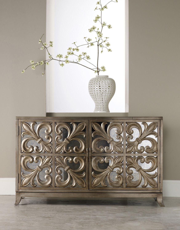 Melange fleurdelis mirrored credenza by hooker furniture home