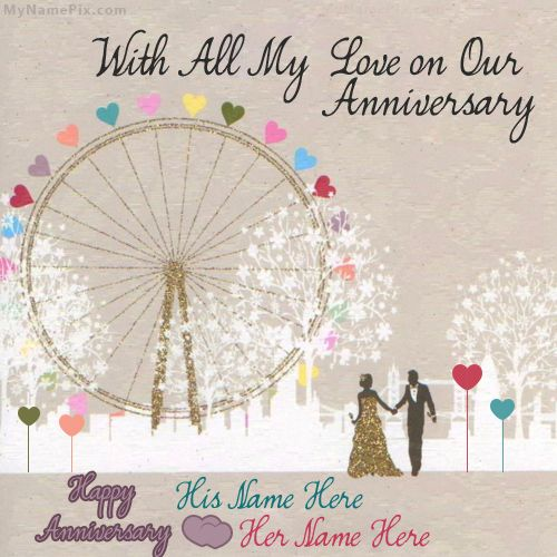 Get Your Name In Beautiful Style On Happy Anniversary Card Picture