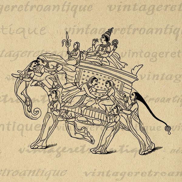 Printable Digital Hindu Krishna In Shape Of Elephant Download Graphic Image Vintage Clip Art Jpg Png