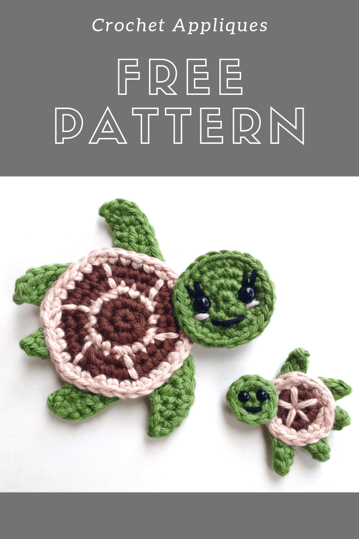 Crochet turtles #crochetturtles Find here a free pattern for some adorable crochet turtle appliques.   #crochet #crochetpattern #pattern #freepattern #turtle #amigurumi #toy #crochetturtle #turtleapplique #seaturtle #applique #crochetturtles