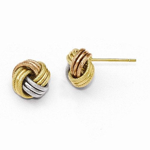 White and Rose Gold Tri-Color Textured Love Knot Stud Earrings 14k Yellow