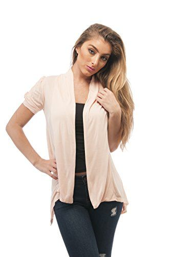 Hollywood Star Fashion Rayon Short Sleeves Flyaway Cardigan Shawl ...