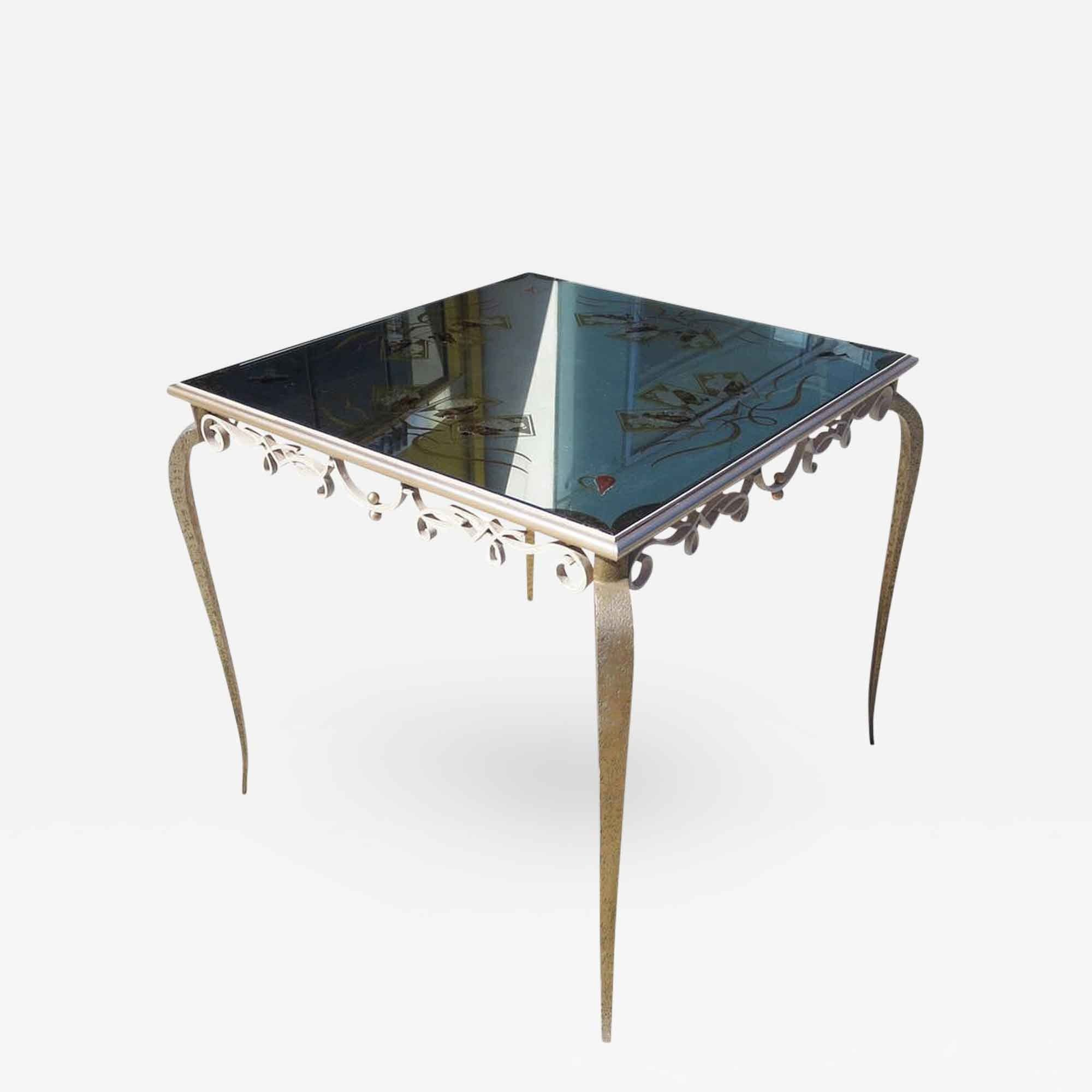 Eglomise Mirrored Game Table In The Manner Of Rene Drouet By Incollect 4 800 Retail Price Mirror Game Table Games Table