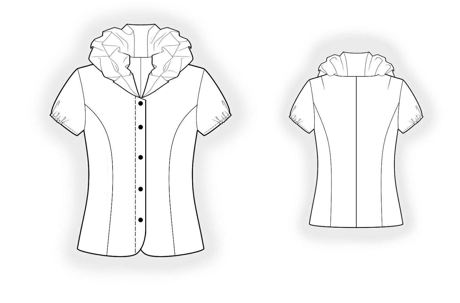 Blouse With Double Collar - Sewing Pattern #4185 Made-to-measure ...