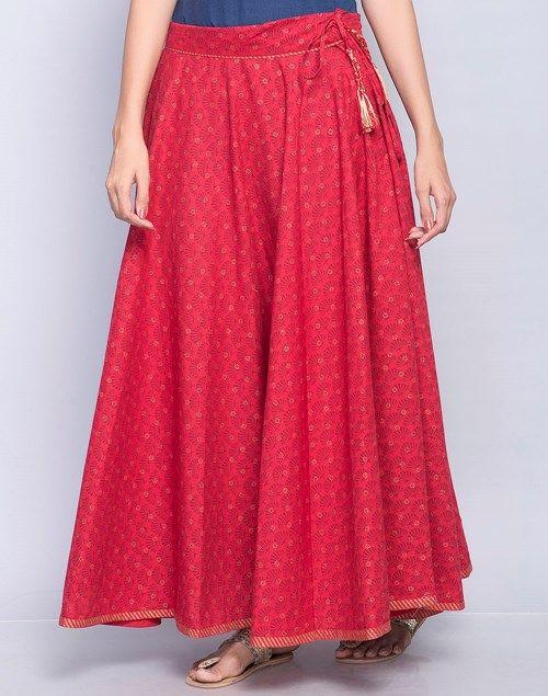 eb0664b565 Cotton Printed Trim Long Skirt | sharara in 2019 | Skirts, Long ...