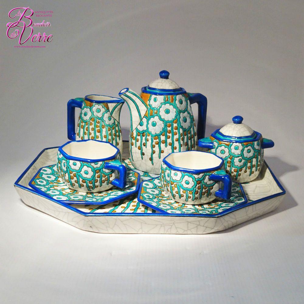 Emaux De Longwy Tete A Tete Art Deco Aux Fleurs Stylisees Art