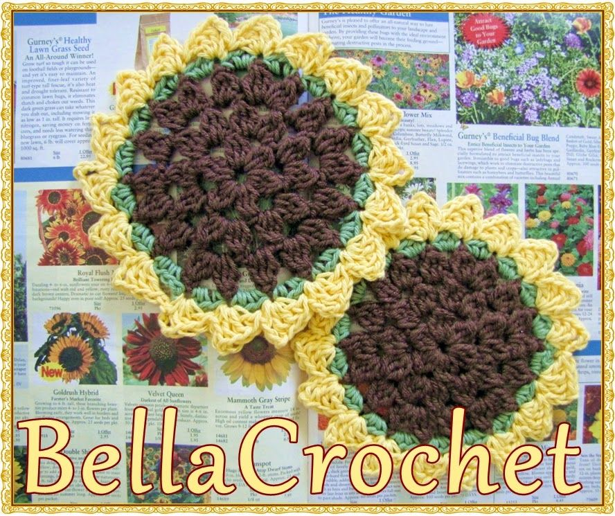 BellaCrochet: Sunflower Dish or Wash Cloth: a Free Crochet Pattern ...