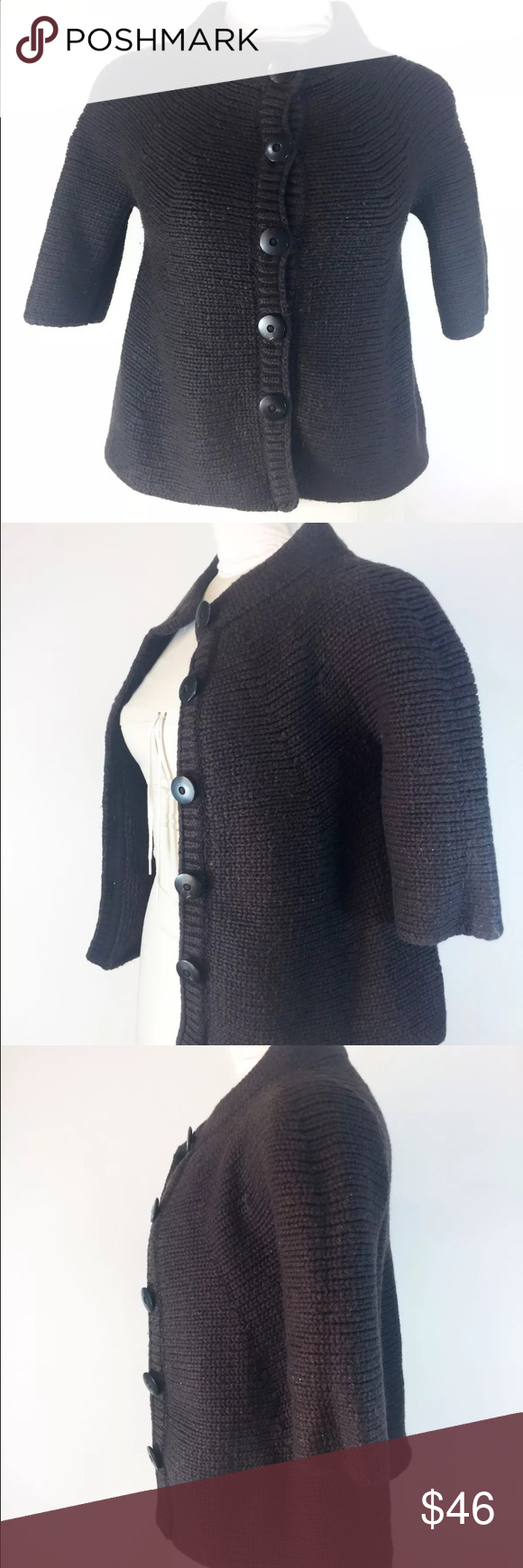 Vince Chocolate Brown Sweater Cropped Cardi | Arm pits, Chocolate ...