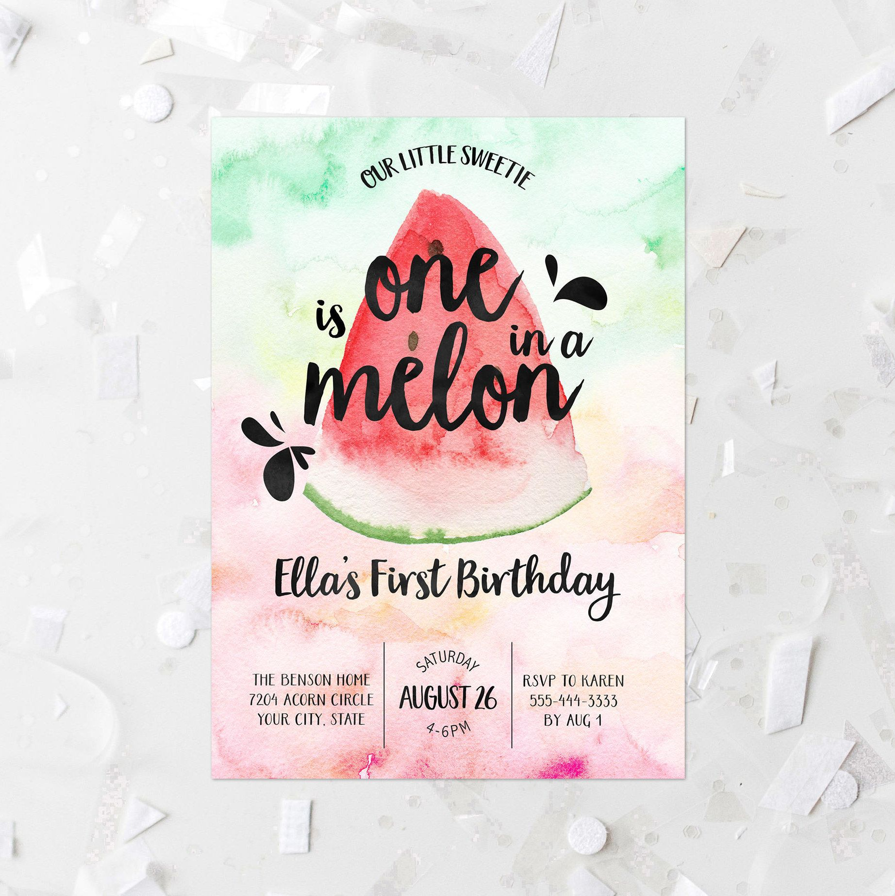 Watermelon First Birthday Party Invitation, Editable Template One