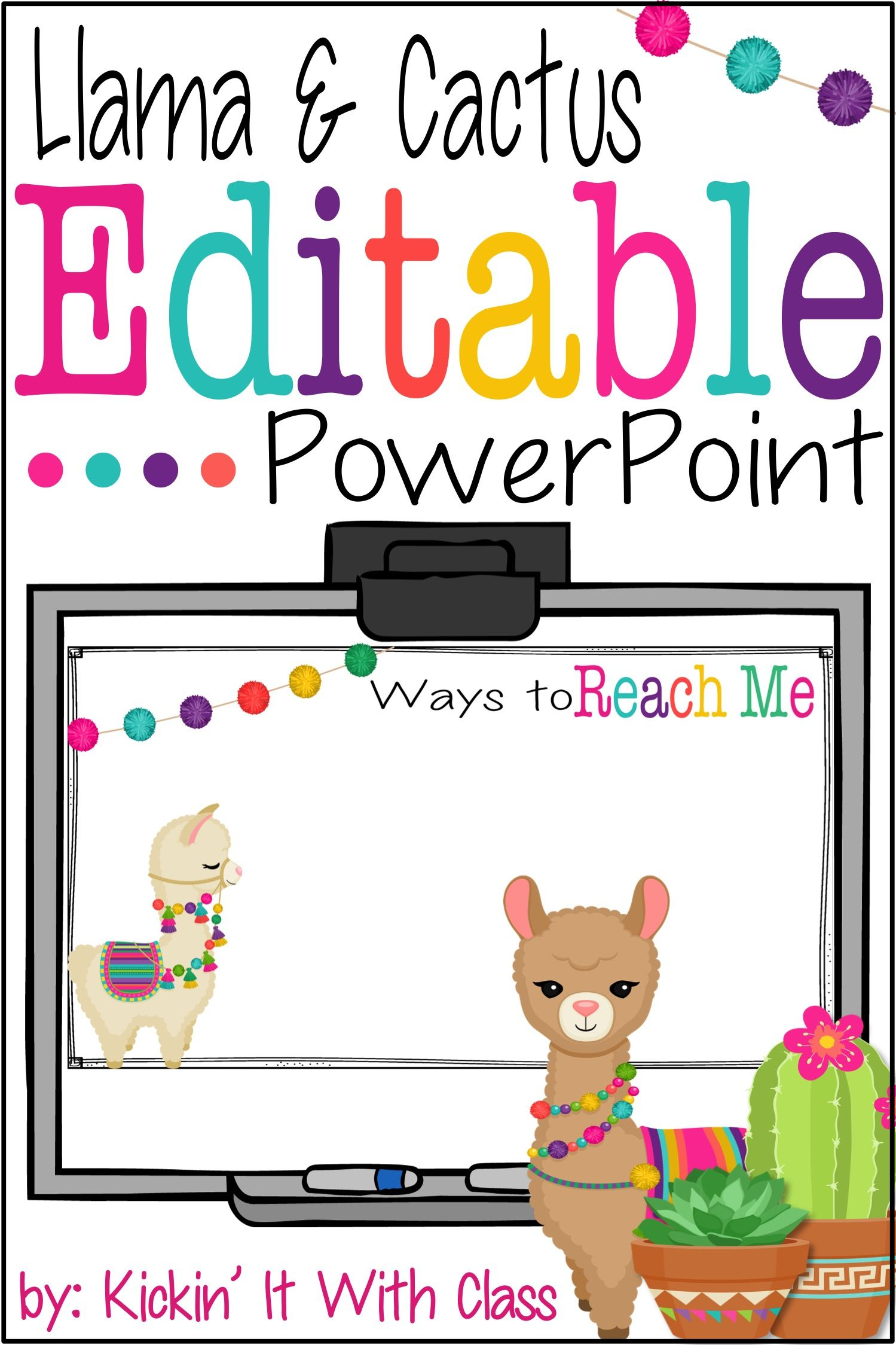 Back To School Editable Powerpoint Cactus Amp Llama