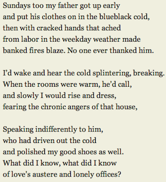 an analysis of those winter sundays a poem by robert hayden As we grow older, our view of the world is altered through experience and  maturity in robert hayden's those winter sundays, the speaker is a man  reflecting.
