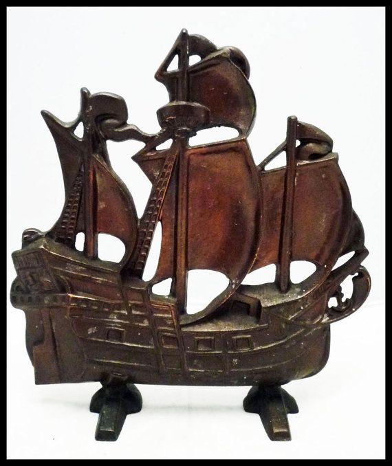 Vintage Cast Iron Doorstop C1920 Sailing Ship Spanish Galleon For