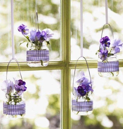 Ideen Fruhling Babyglaser Stiefmutterchen Lila Fensterdeko Deko