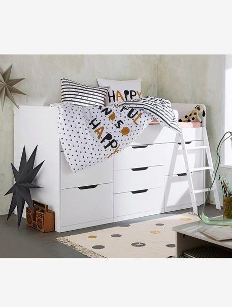 ideal pour les petits espaces ce lit mezzanine est dote de rangements pour accueillir jouets vetements et linge de lit dimensions largeur 96 cm x