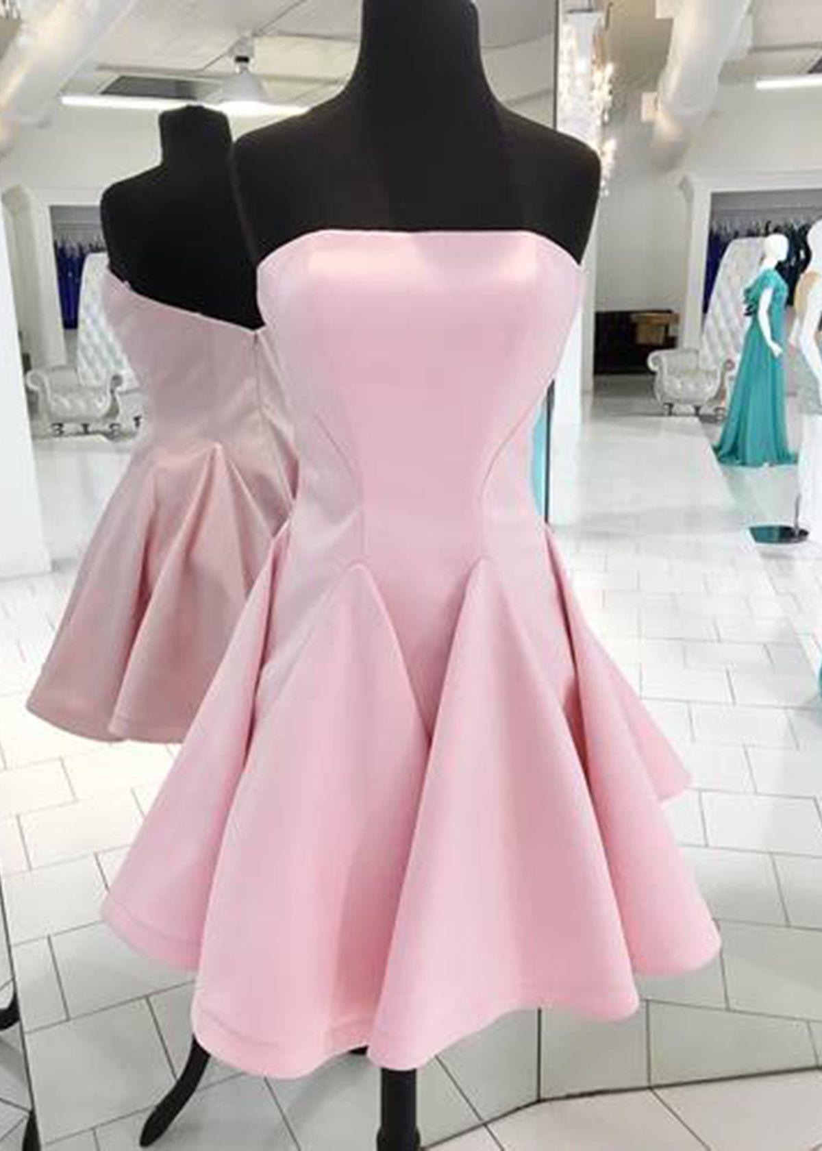 Fashion pink satin strapless mini bridesmaid dress short party