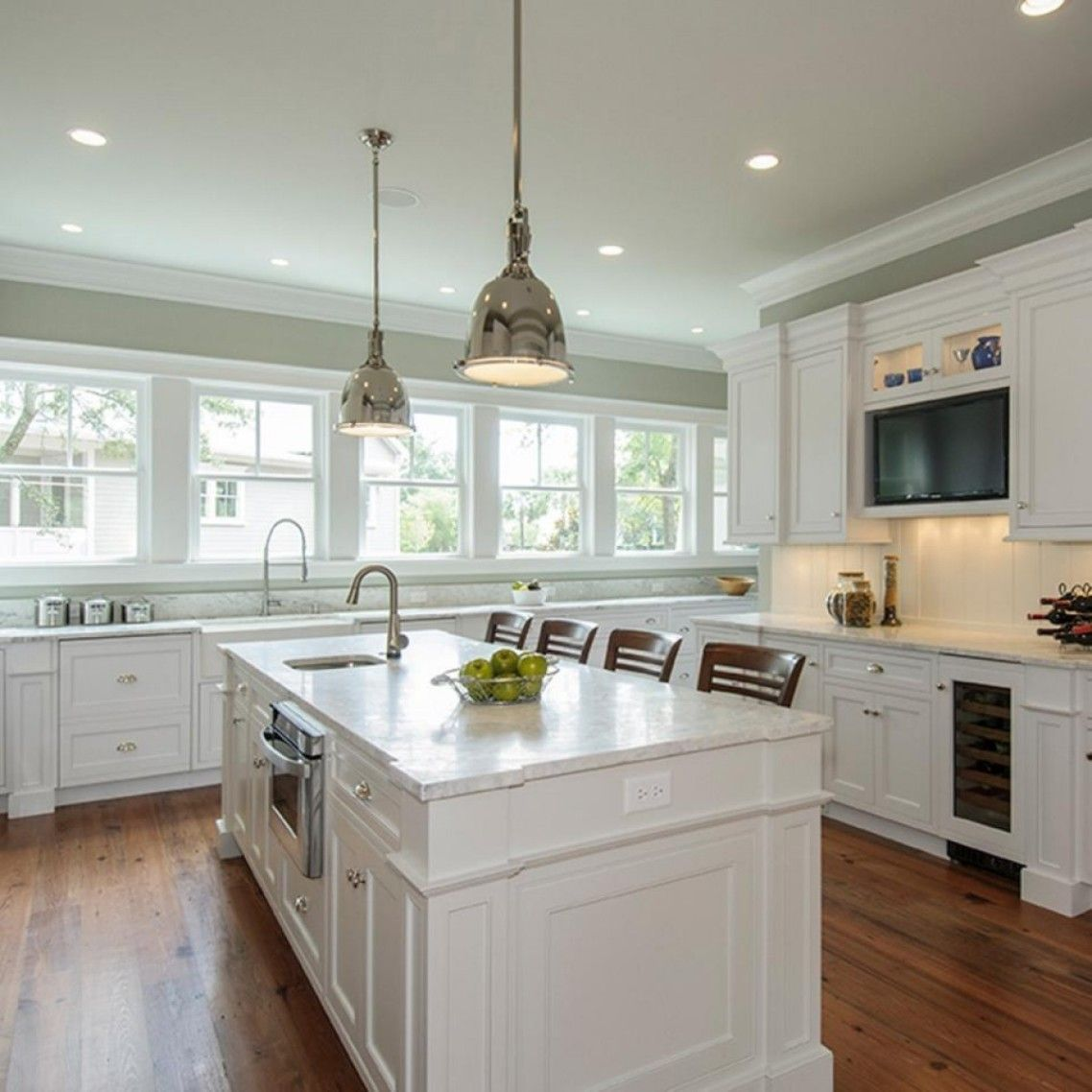 Awesome white brown wood stainless glass cool design white kitchen