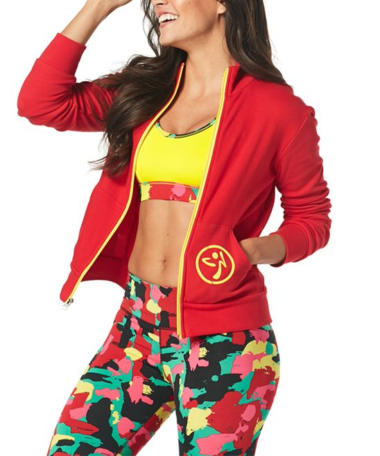 Well Red One Zumba Love Zip Up Cardigan