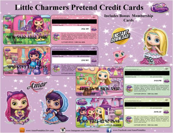 Little Charmers Pretend Credit Cards \ Bonus Club Membership Cards - printable membership cards
