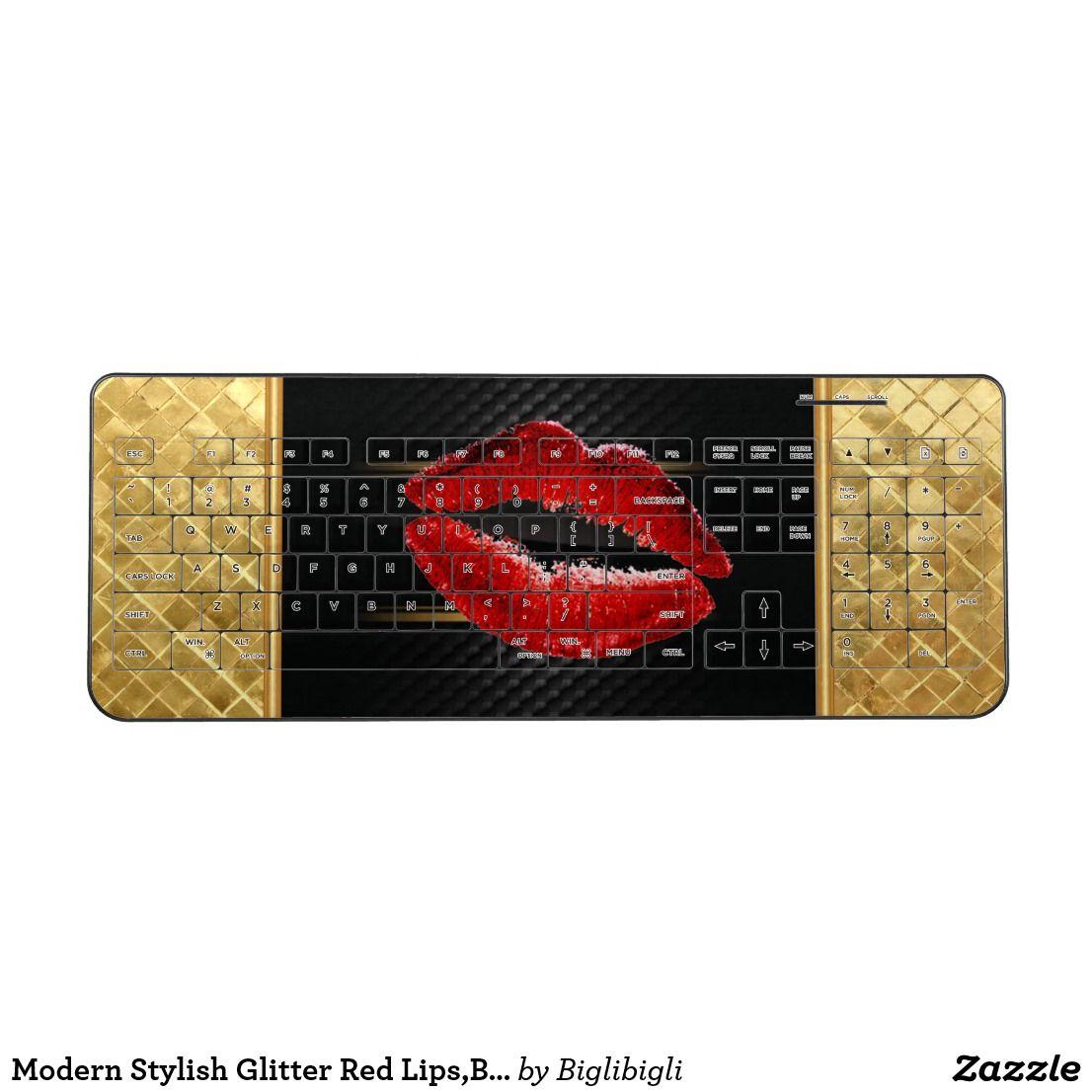 Modern Stylish Glitter Red Lips Black Wireless Keyboard Zazzle