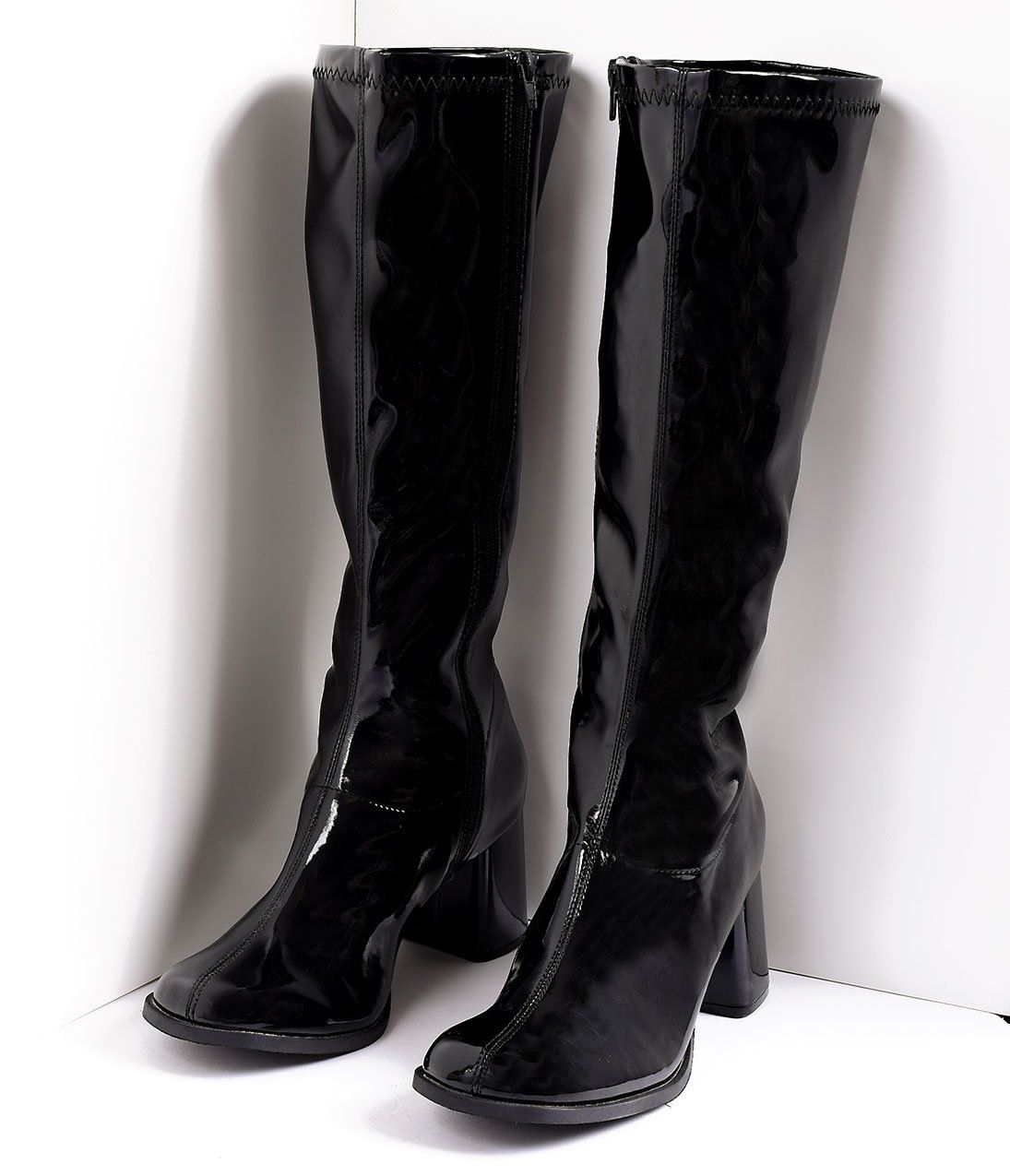 2724cba2a Black Patent Knee High Go Go Boots in 2019   Fashion Inspo   Boots ...