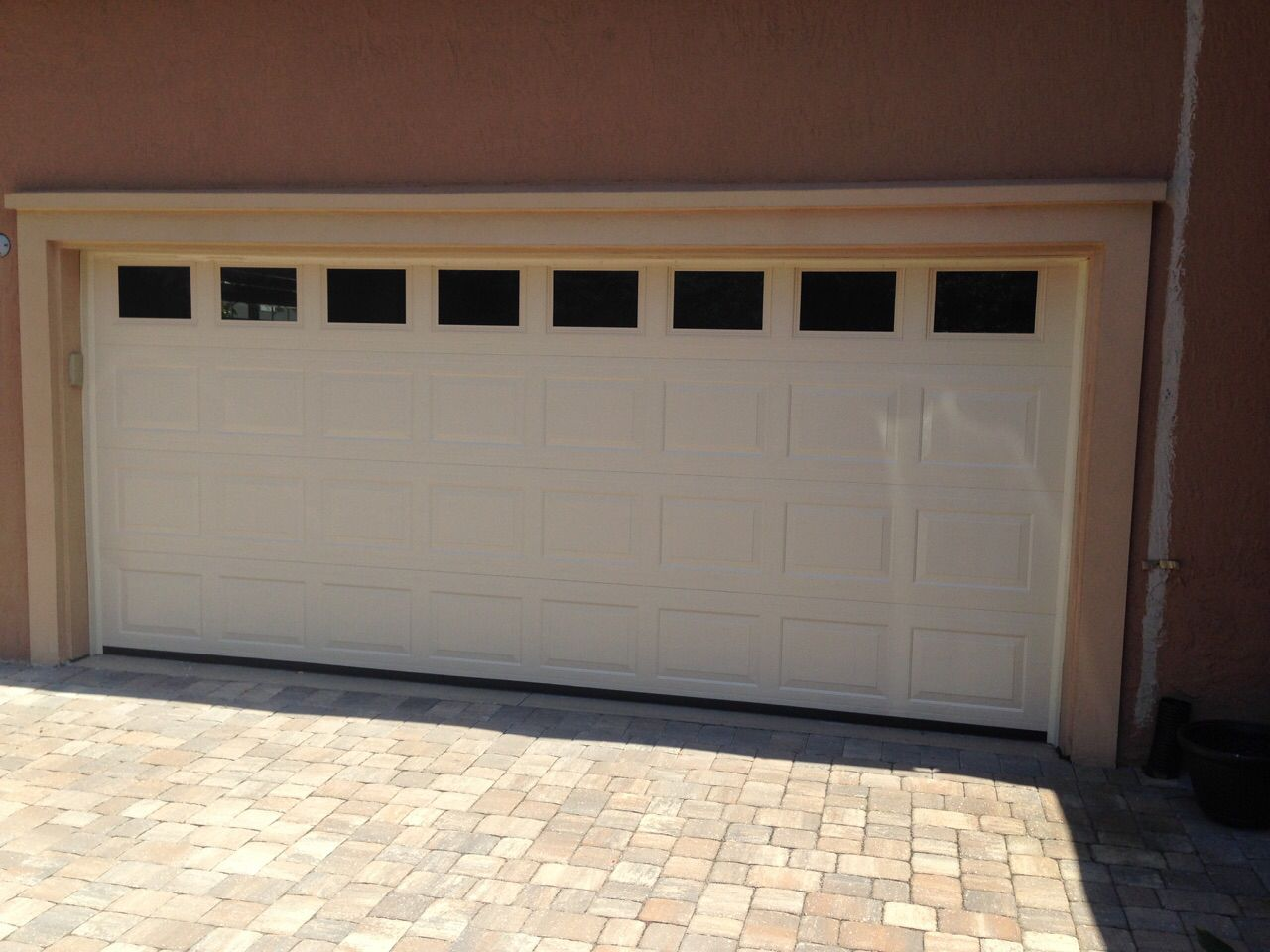 Haas Garage Door 2580 In Almond With Solid Windows
