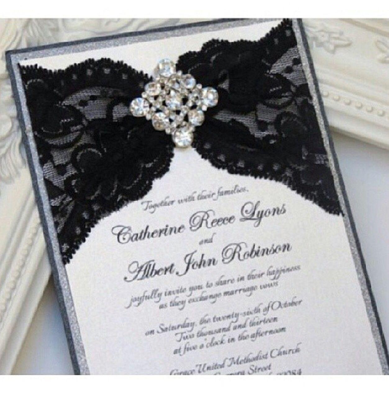 Wedding invitation. Black, White and Bling | Wedding | Pinterest ...