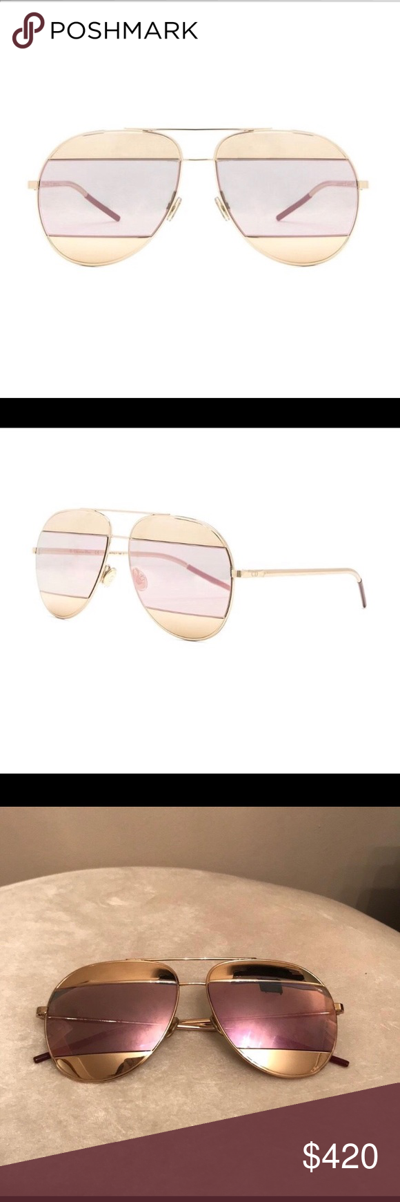 744558c92d9b Dior pink and gold sunglasses Pink and gold Dior split sunglasses in great  condition! Comes with original case. Dior Accessories Sunglasses
