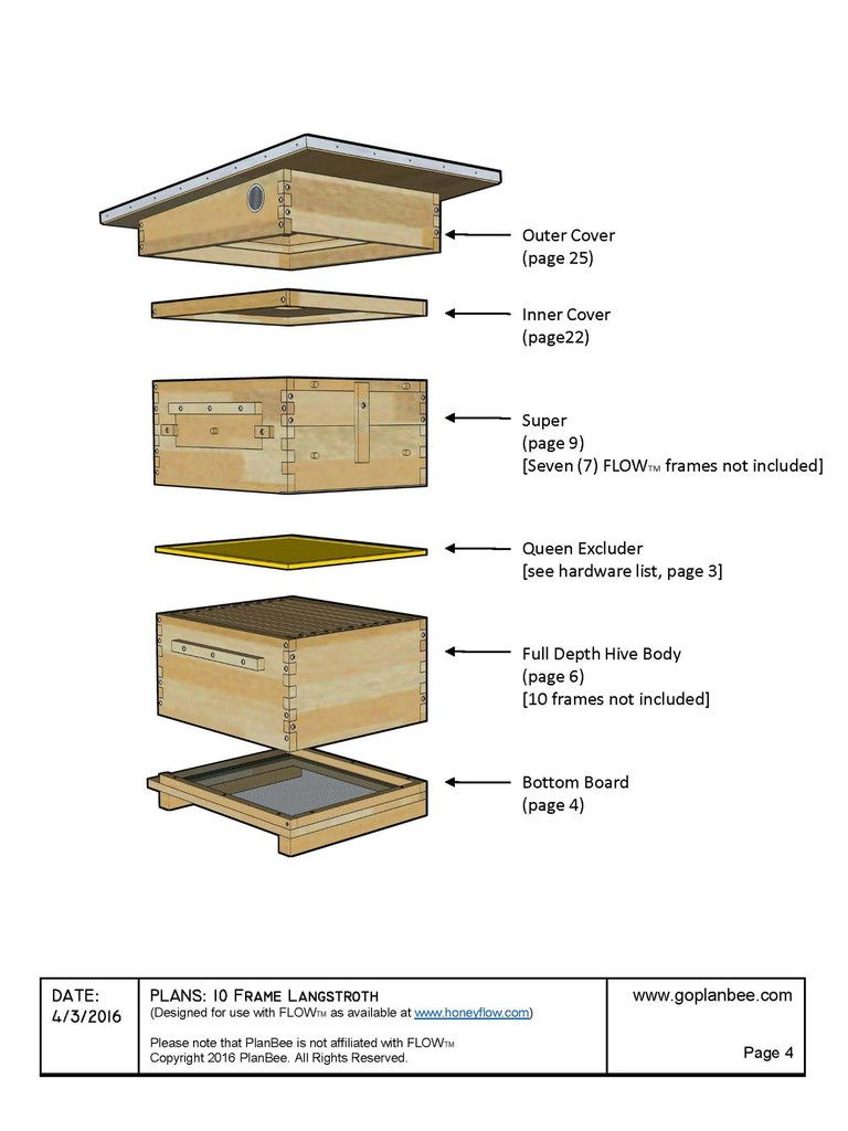 10 Frame Langstroth Flow Hive Design Easy To Follow Diy Construction Drawings Flow Hive Beehive Design Flow Hive Plans