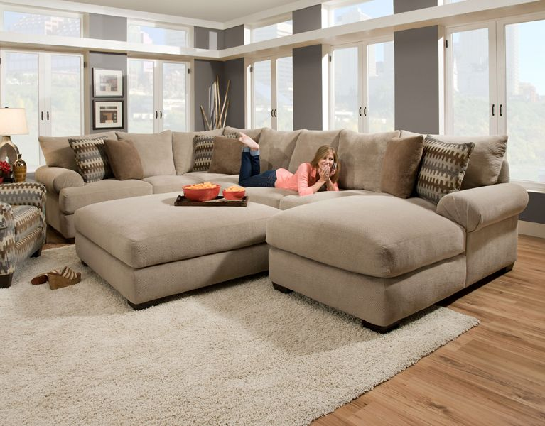 Massive sectional featuring an extra deep seat with crowned cushions