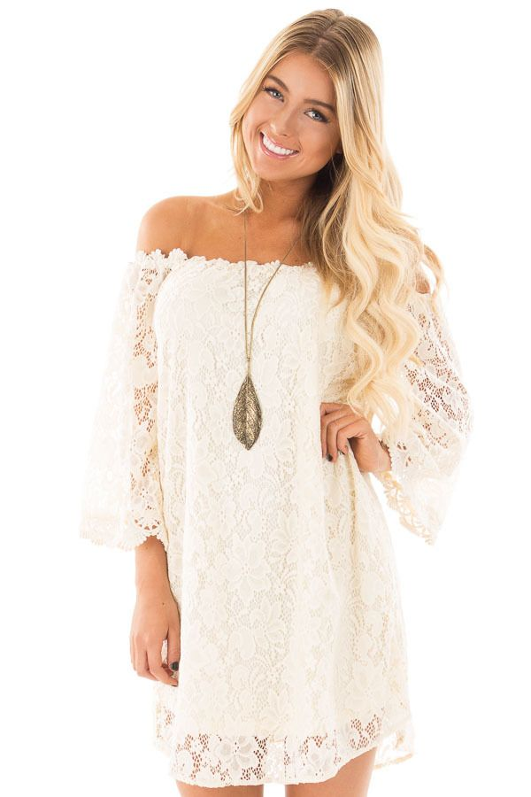 0bac3c1d08 Buy Cute Boutique Dresses for Women Online. Lime Lush Boutique - Ivory Off  Shoulder 3 4 Sleeve Lace Dress