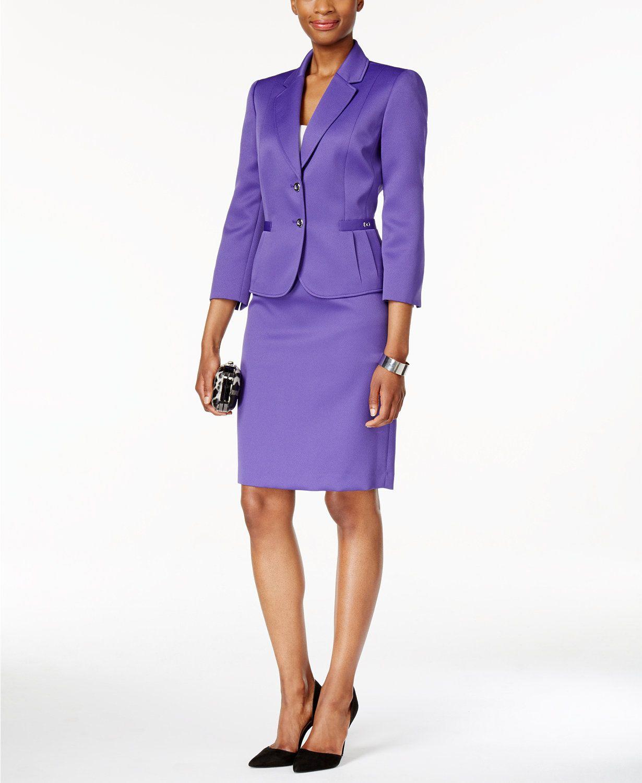d0944cf374c Tahari ASL Two-Button Piqué Skirt Suit