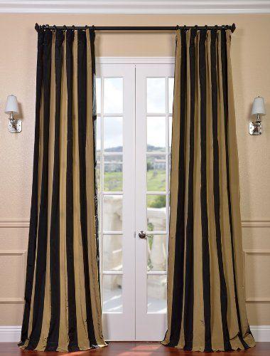 Regency Faux Silk Taffeta Stripe Curtain 89 00 Gold Black
