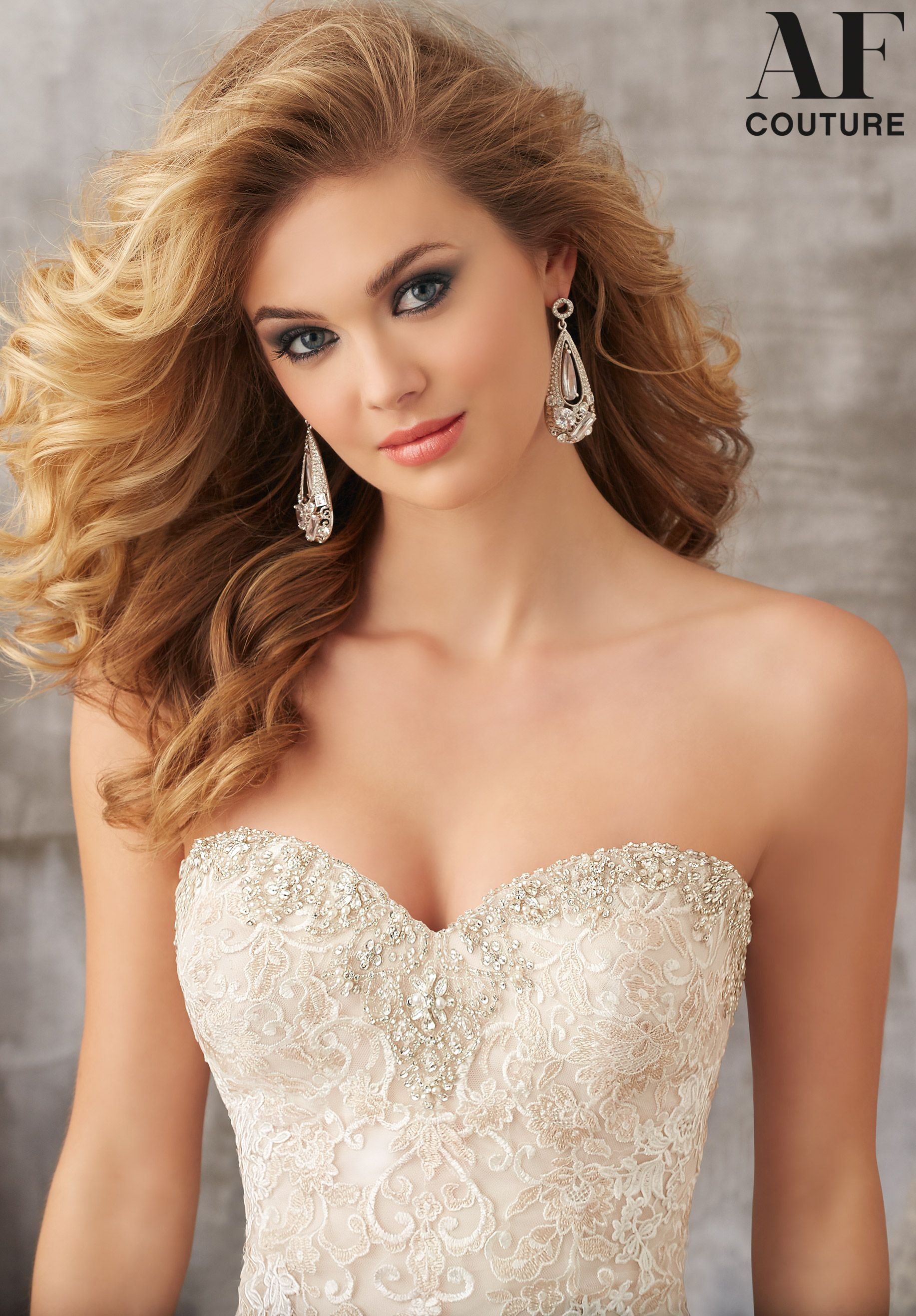 Mori lee madeline gardner wedding dress  Sweet Sweetheart Neckline Bridal Dress in Lace and Tulle Allover